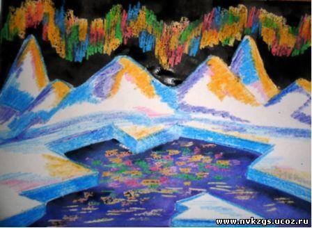Дети рисуют северное сияние
